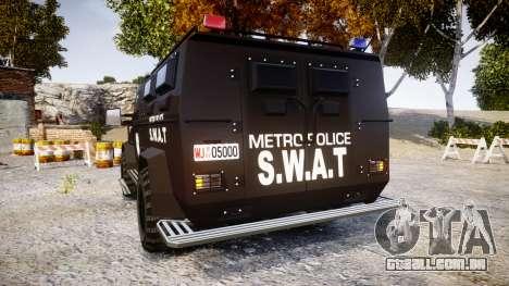 SWAT Van Metro Police [ELS] para GTA 4 traseira esquerda vista