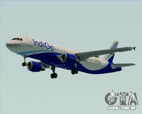 Airbus A320-200 IndiGo para GTA San Andreas traseira esquerda vista