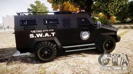 SWAT Van Metro Police para GTA 4 esquerda vista