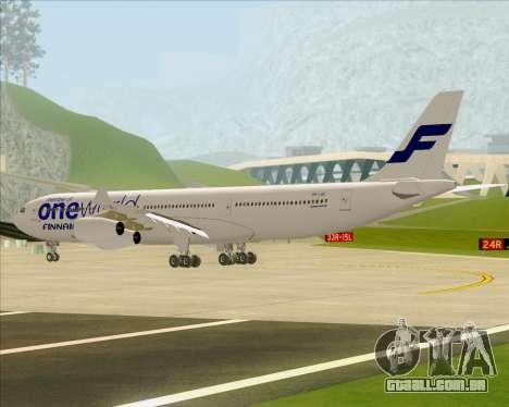 Airbus A340-300 Finnair (Oneworld Livery) para GTA San Andreas vista traseira