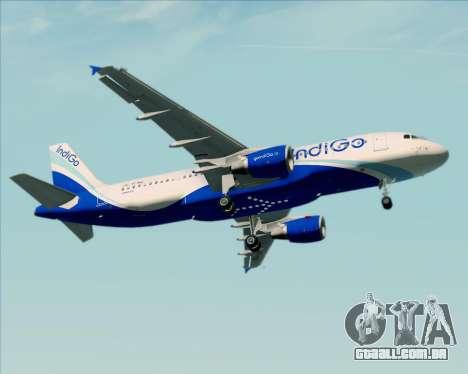 Airbus A320-200 IndiGo para GTA San Andreas vista inferior