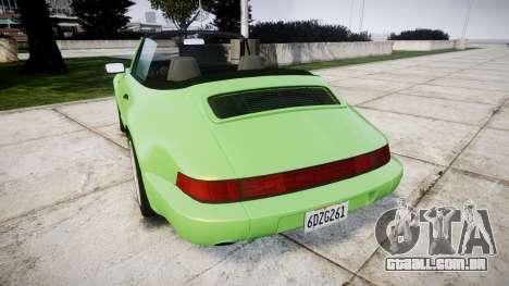 Porsche 911 (964) Cabrio para GTA 4 traseira esquerda vista