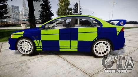 Mitsubishi Lancer Evolution X Police [ELS] para GTA 4 esquerda vista