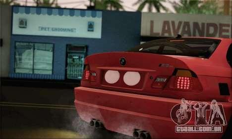 BMW M3 Coupe Tuned Version Burnout para GTA San Andreas traseira esquerda vista