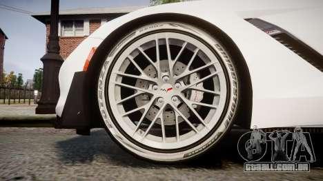 Chevrolet Corvette Z06 2015 TireBr3 para GTA 4 vista de volta