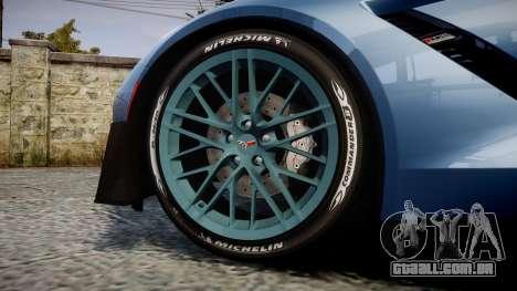 Chevrolet Corvette Z06 2015 TireMi1 para GTA 4 vista de volta