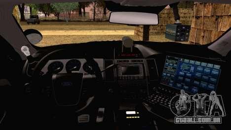 Ford Taurus 2013 Georgia Police Car para GTA San Andreas traseira esquerda vista