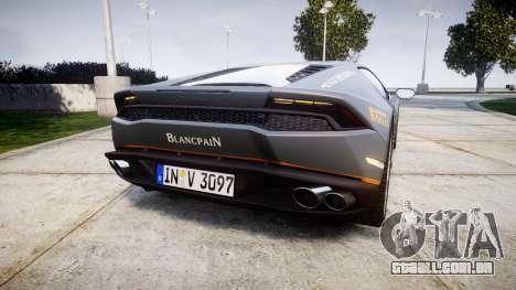 Lamborghini Huracan LP 610-4 2015 Blancpain para GTA 4 traseira esquerda vista