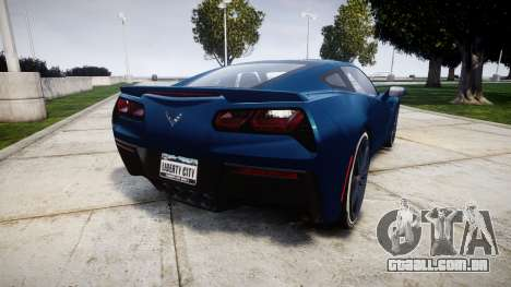 Chevrolet Corvette C7 Stingray 2014 v2.0 TirePi1 para GTA 4 traseira esquerda vista