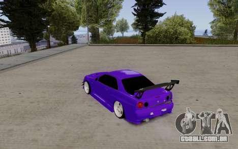 Nissan Skyline GT-R 34 para GTA San Andreas traseira esquerda vista