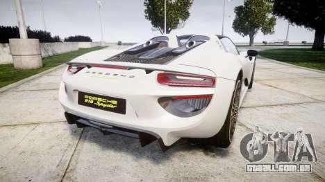 Porsche 918 Spyder 2014 para GTA 4 traseira esquerda vista