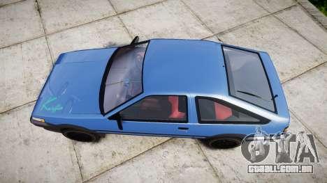 Toyota Corolla Levin (AE86) para GTA 4 vista direita