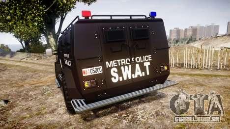 SWAT Van Metro Police para GTA 4 traseira esquerda vista