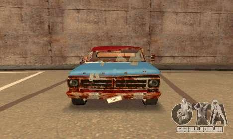Ford PickUp Rusted para GTA San Andreas traseira esquerda vista