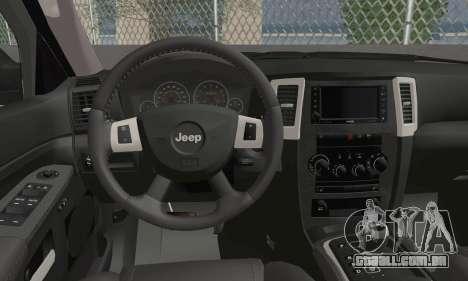 Jeep Grand Cherokee SRT8 para GTA San Andreas traseira esquerda vista