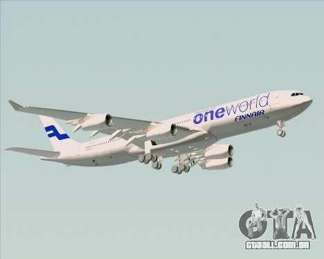 Airbus A340-300 Finnair (Oneworld Livery) para GTA San Andreas vista inferior