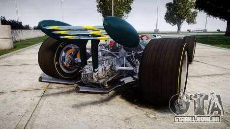 Lotus 49 1967 green para GTA 4 traseira esquerda vista