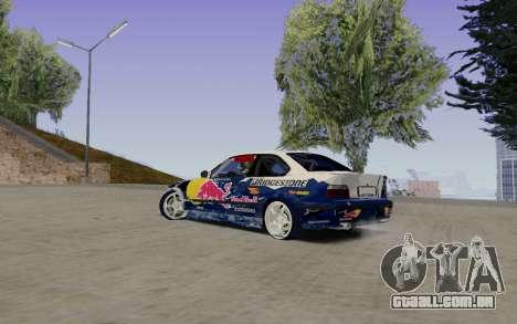 BMW E36 Red Bull para GTA San Andreas esquerda vista