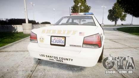GTA V Vapid Police Cruiser Rotor [ELS] para GTA 4 traseira esquerda vista
