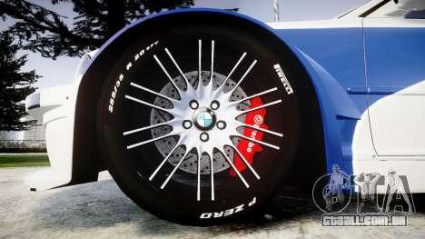 BMW M3 E46 GTR Most Wanted plate NFS MW para GTA 4 vista de volta