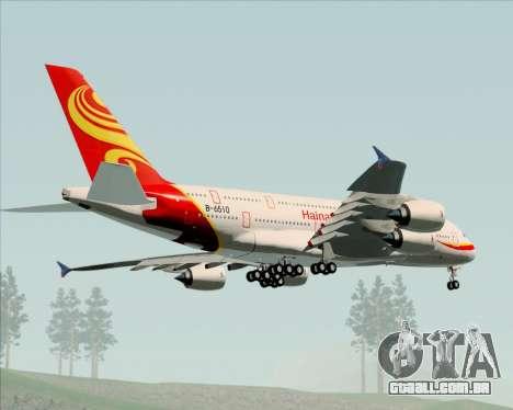 Airbus A380-800 Hainan Airlines para GTA San Andreas vista traseira
