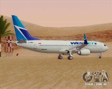 Boeing 737-800 WestJet Airlines para GTA San Andreas vista traseira