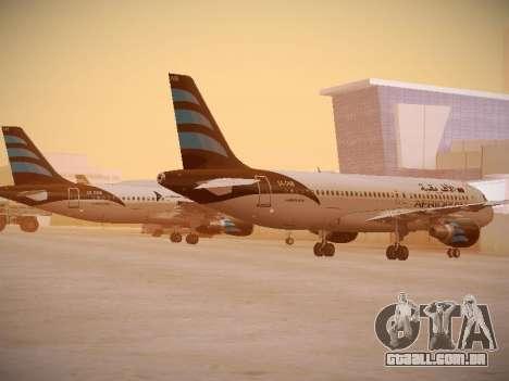 Airbus A320-214 Afriqiyah Airways para GTA San Andreas traseira esquerda vista
