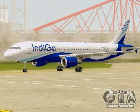 Airbus A320-200 IndiGo para GTA San Andreas esquerda vista