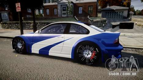 BMW M3 E46 GTR Most Wanted plate NFS ND 4 SPD para GTA 4 esquerda vista
