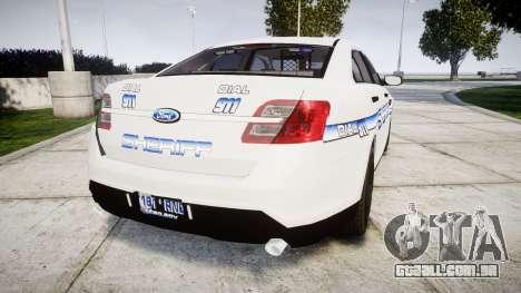 Ford Taurus 2014 [ELS] Liberty County Sheriff para GTA 4 traseira esquerda vista