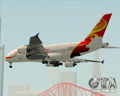 Airbus A380-800 Hainan Airlines para GTA San Andreas vista superior