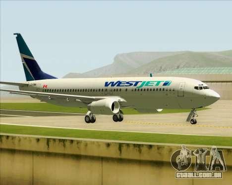 Boeing 737-800 WestJet Airlines para vista lateral GTA San Andreas