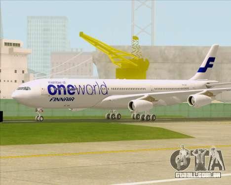 Airbus A340-300 Finnair (Oneworld Livery) para GTA San Andreas esquerda vista