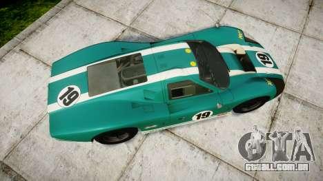 Ford GT40 Mark IV 1967 PJ Schila Racing 19 para GTA 4 vista direita