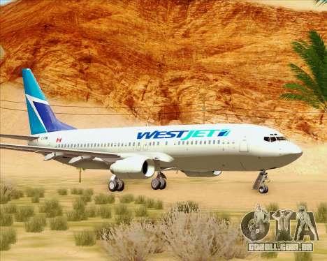 Boeing 737-800 WestJet Airlines para GTA San Andreas esquerda vista