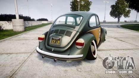 Volkswagen Beetle para GTA 4 traseira esquerda vista