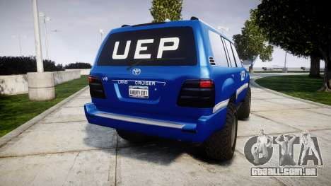 Toyota Land Cruiser 100 UEP blue [ELS] para GTA 4 traseira esquerda vista