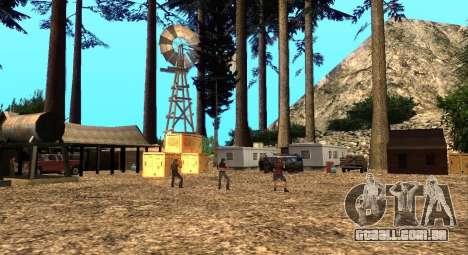 O Altruísta acampamento no monte Chiliad para GTA San Andreas segunda tela