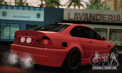 BMW M3 Coupe Tuned Version Burnout para GTA San Andreas esquerda vista