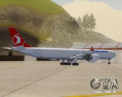 Airbus A340-600 Turkish Cargo para GTA San Andreas vista traseira