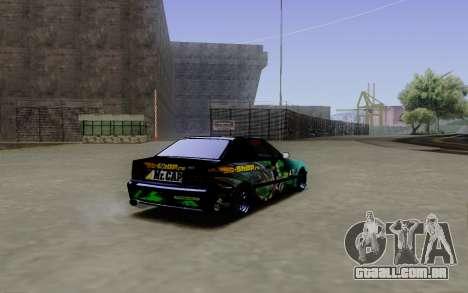 BMW M3 E36 Gorilla Energy Team para GTA San Andreas traseira esquerda vista
