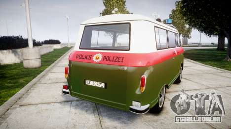 Barkas B1000 1961 Police para GTA 4 traseira esquerda vista