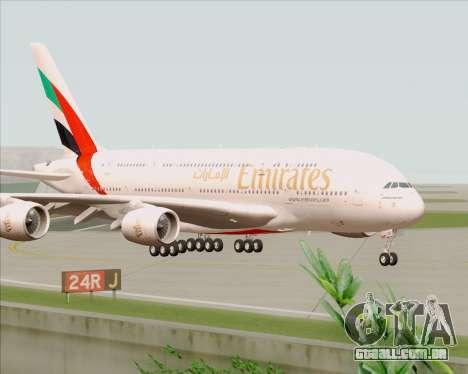 Airbus A380-800 Emirates 40 Anniversary Sticker para GTA San Andreas traseira esquerda vista