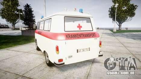 Barkas B1000 1961 Ambulance para GTA 4 traseira esquerda vista