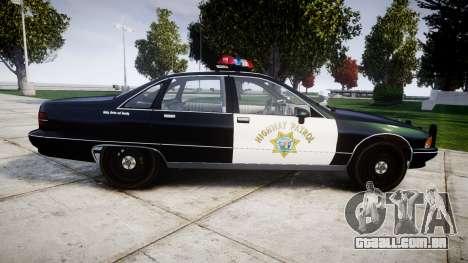Chevrolet Caprice 1991 Highway Patrol [ELS] para GTA 4 esquerda vista