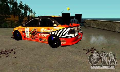 Mitsubishi Lancer Evo 9 Kumakubo Team Orange para GTA San Andreas esquerda vista