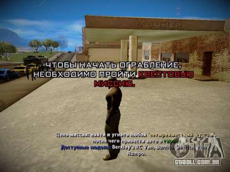 Sistema de roubos v4.0 para GTA San Andreas quinto tela