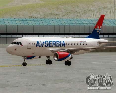 Airbus A319-100 Air Serbia para GTA San Andreas traseira esquerda vista