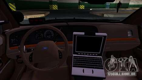 LAPD Ford Crown Victoria Slicktop para GTA San Andreas traseira esquerda vista
