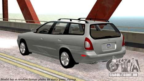 Daewoo Nubira eu Vagão CDX-NOS de 1999 para GTA San Andreas vista superior